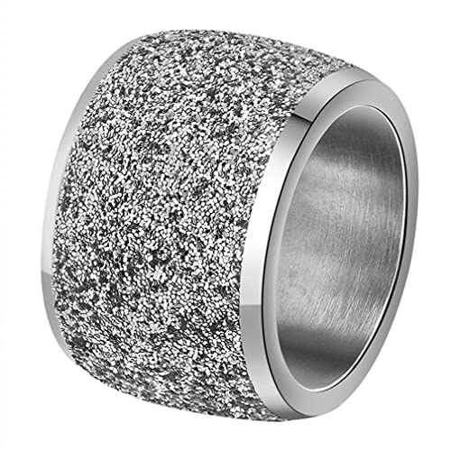 91a385f82f70f INRENG Women's Stainless Steel Ring Shiny Sequins Pave Sandblast Wide  Wedding Band Silver, Rose Gold, Black