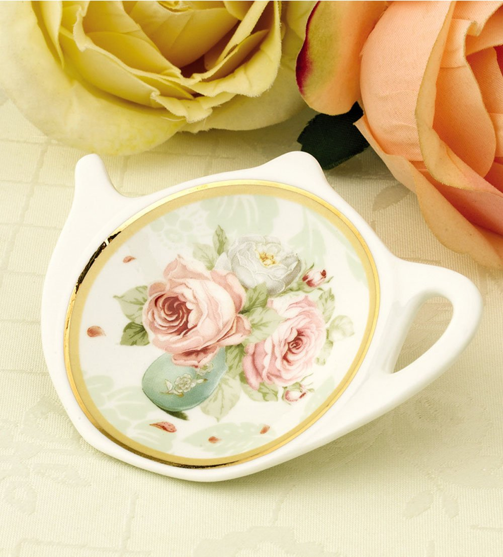 White Porcelain Ceramic with Flower Trim Gold Rim Teapot-Shaped Tea Bag Holder Tea Bag Coasters, Spoon Rests; Classic Tea Saucer Seasoning Dish Set by Linlins (Image #2)