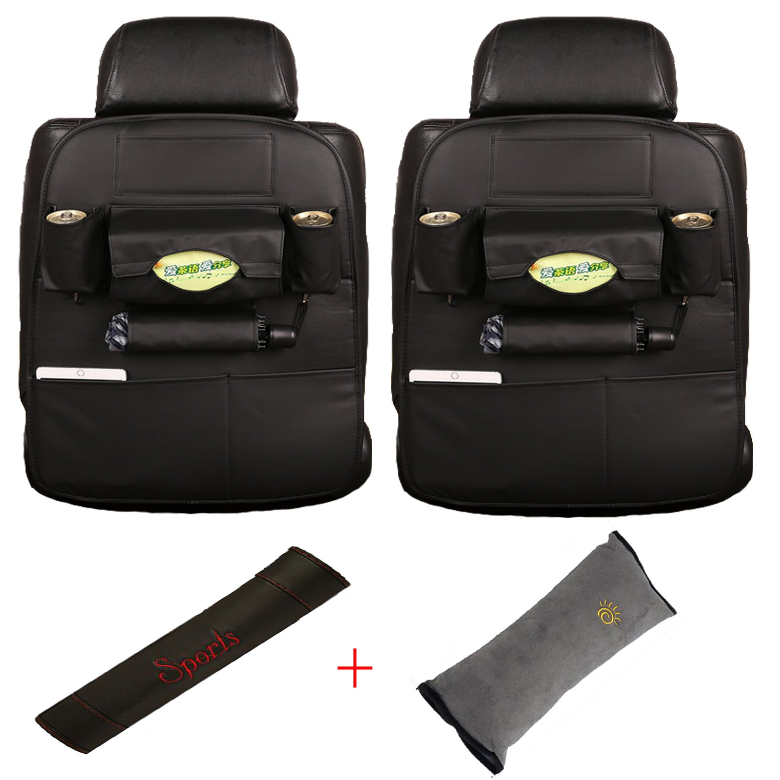 Lamshine PU Leather Car Back Seat Organizer - Including Children Seat Belt Pillow and Seat Belt Shoulder Strap Covers (Black)