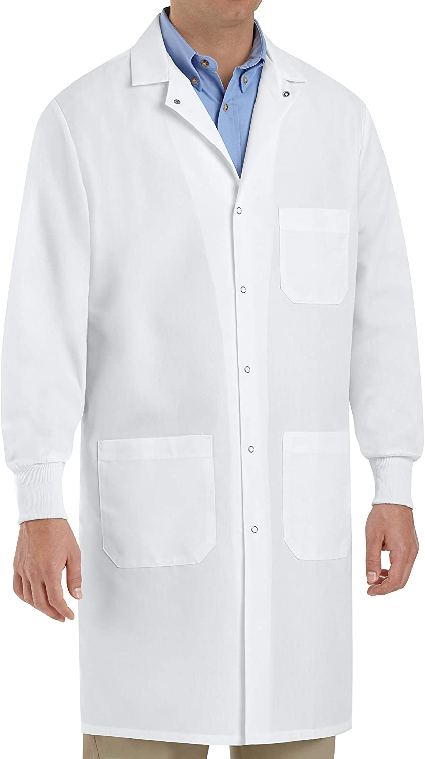 Red Kap Unisex Specialized Cuffed Lab Coat with 3 Front Pockets: Clothing