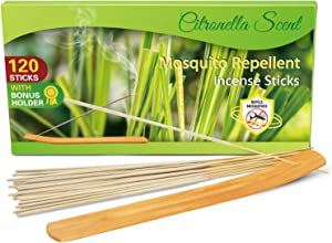 SCENTORINI Citronella Incense Sticks, 120 PCS Lemongrass Incense Sticks for Outdoor Garden Patio Camping