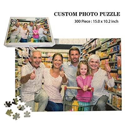 Custom Photo Jigsaw Puzzle 300 Pieces, Personalized Custom Wooden Puzzle from Your own Image and Text, DIY, 15.0x10.2 in: Toys & Games
