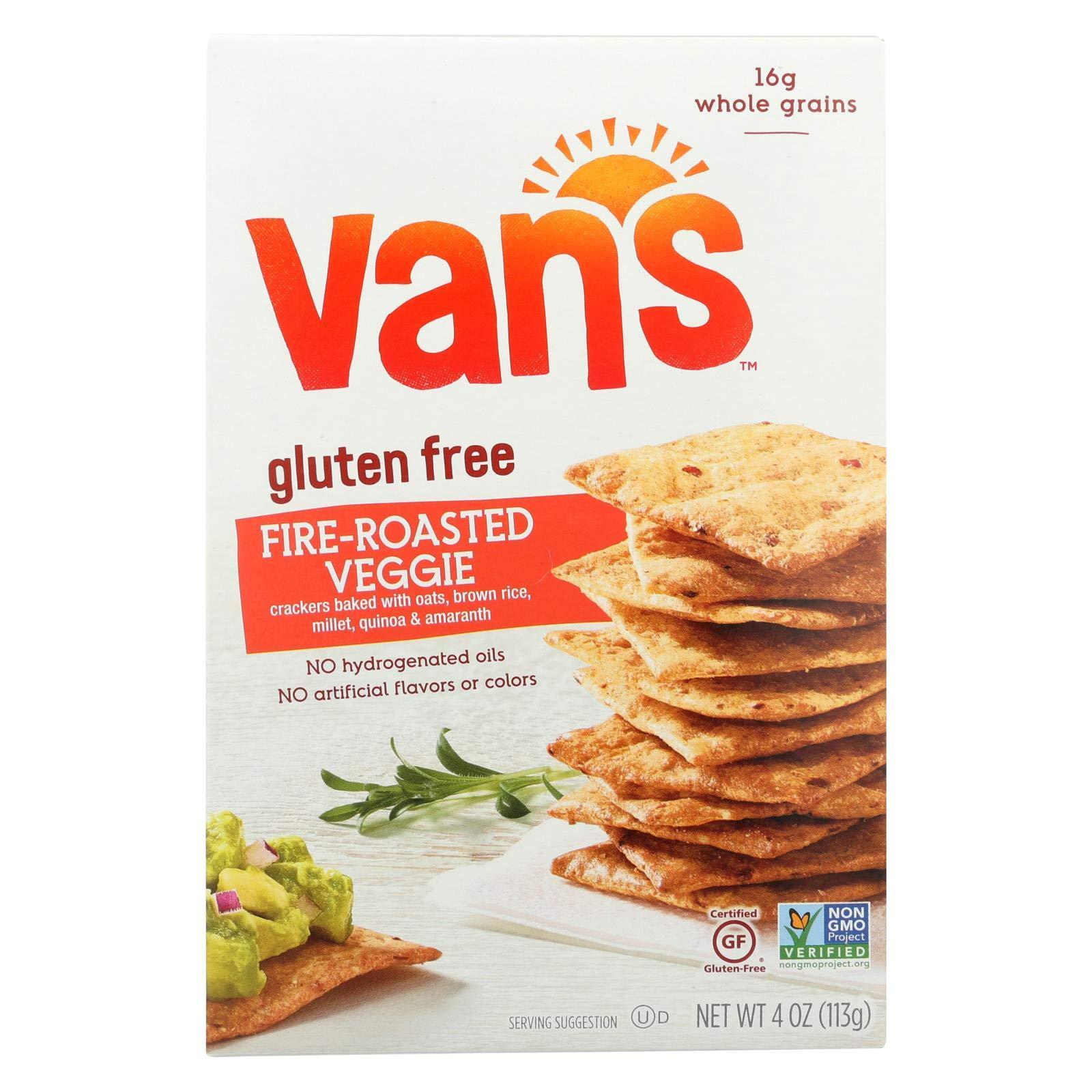 Vans Natural Foods Fire Roasted Veggie Gluten Free Crackers, 4 Ounce - 6 per case. by Van's Natural Foods
