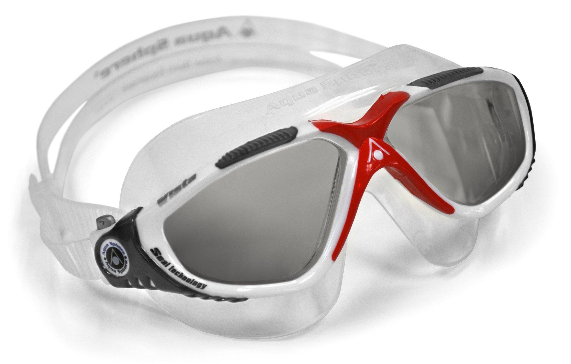 Aqua Sphere Vista Swim Mask Goggles, Smoke Lens, White/Red
