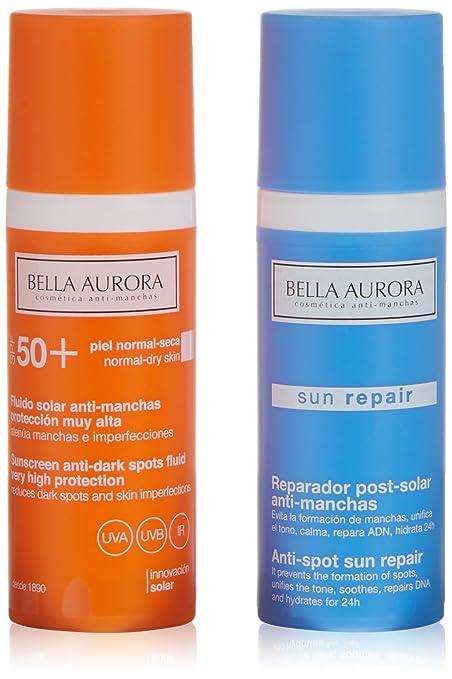 Bella Aurora Fluido Antimanchas SPF50 Pieles Normales o Secas + Reparador Solar - 1 Pack