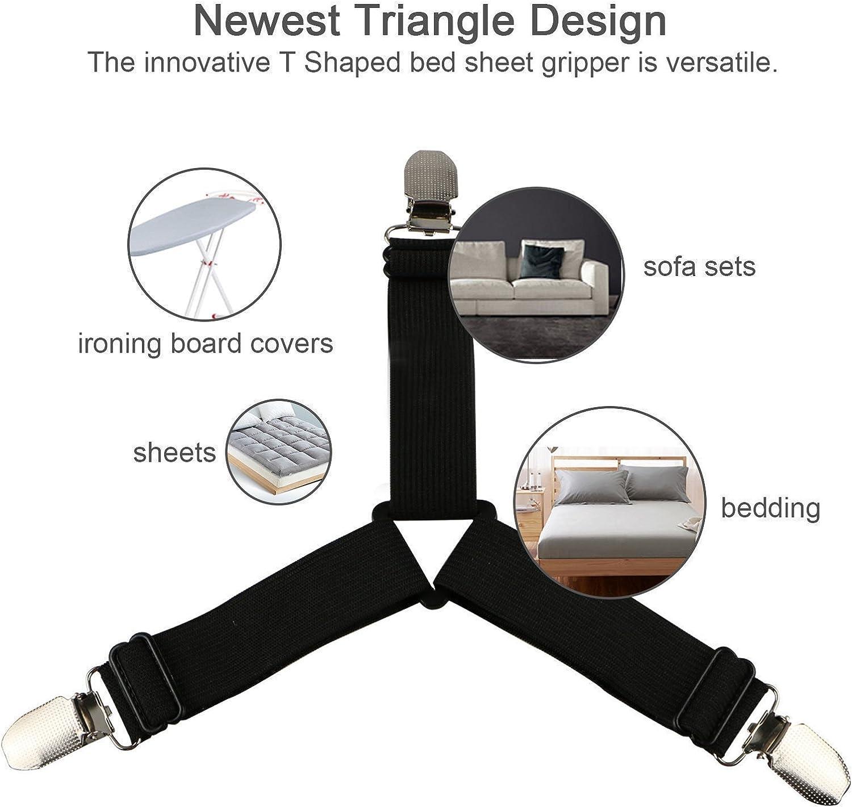 Bed Sheet Holder Strap 2-Set Triangle Fastener Adjustable Elastic Suspender C...
