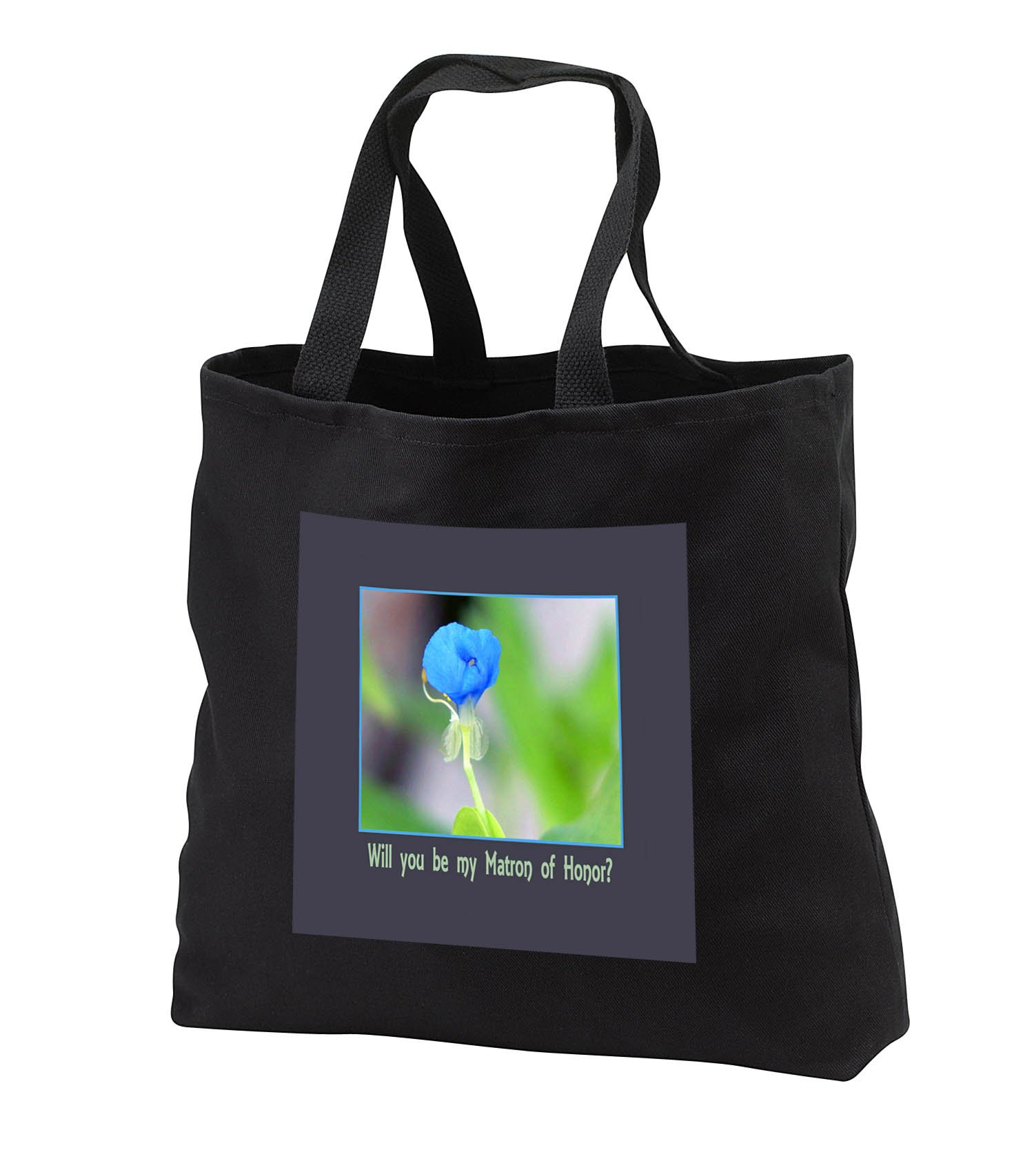 Beverly Turner Wedding Bridal Party Design - Will you be my Matron of Honor, Blue Water Iris Flower - Tote Bags - Black Tote Bag 14w x 14h x 3d (tb_282204_1)