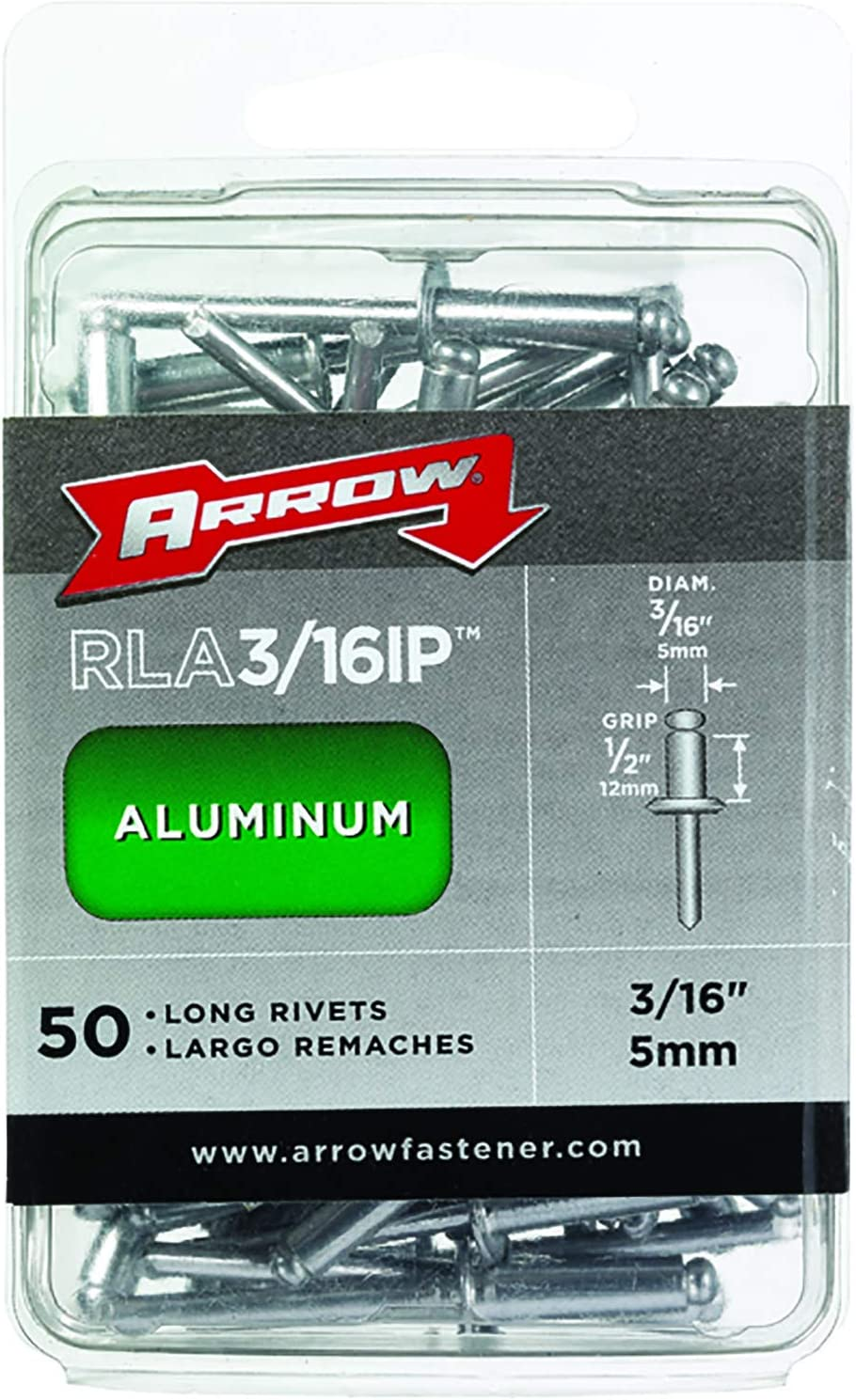 Arrow Fastener RLA3//16 12 Count 3//16-Inch Long Aluminum Rivets