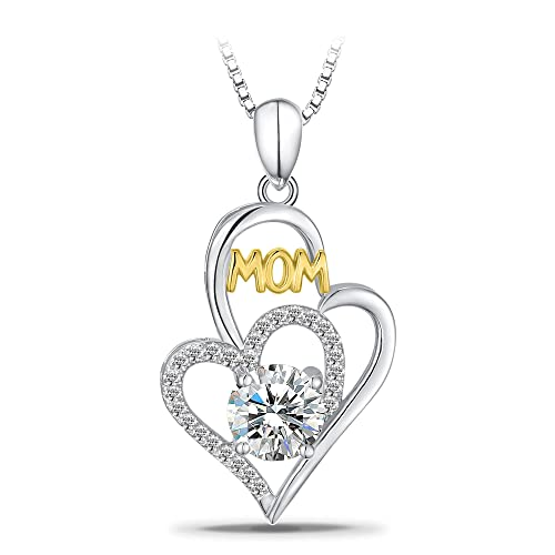 "T400 Jewelers Sterling Silver ""Mom"" CZ Heart Pendant Women Necklace, 18""+2"" Love Gift"