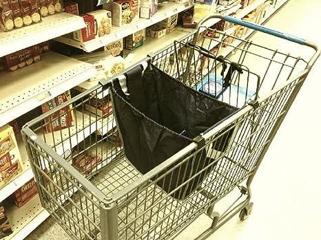 Pack-N-bolso de compras reutilizable bolsa carrito, ganchos directamente al carrito de