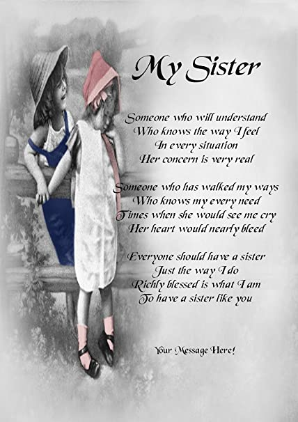 A Sister Like You Personalised Poem Gift Print Amazoncouk