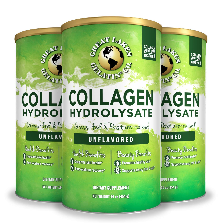 Great Lakes Gelatin, Collagen Hydrolysate, Unflavored Beef, Kosher, 16oz 3-Pack
