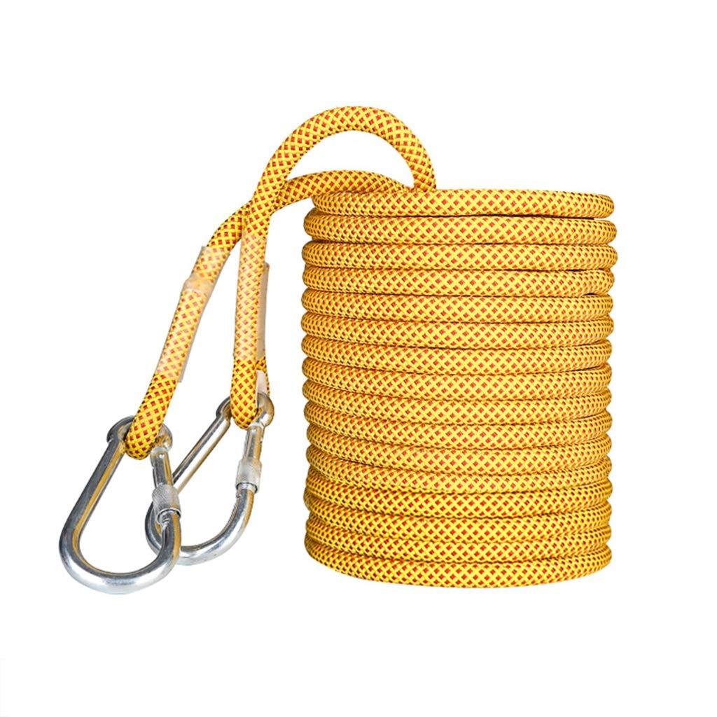 Jaune LBYMYB Corde de Nettoyage de la paroi extérieure résistante à l'usure de la paroi extérieure de 16 mm Corde d'escalade (Couleur   jaune, Taille   10M(32.8FT)) 40M(131FT)