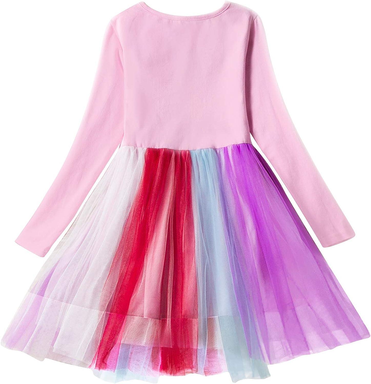 Girls Unicorn Tutu Skirt Sets Girls Summer Outfit,Girls Cute Unicorn Princess Dress 2-7Years