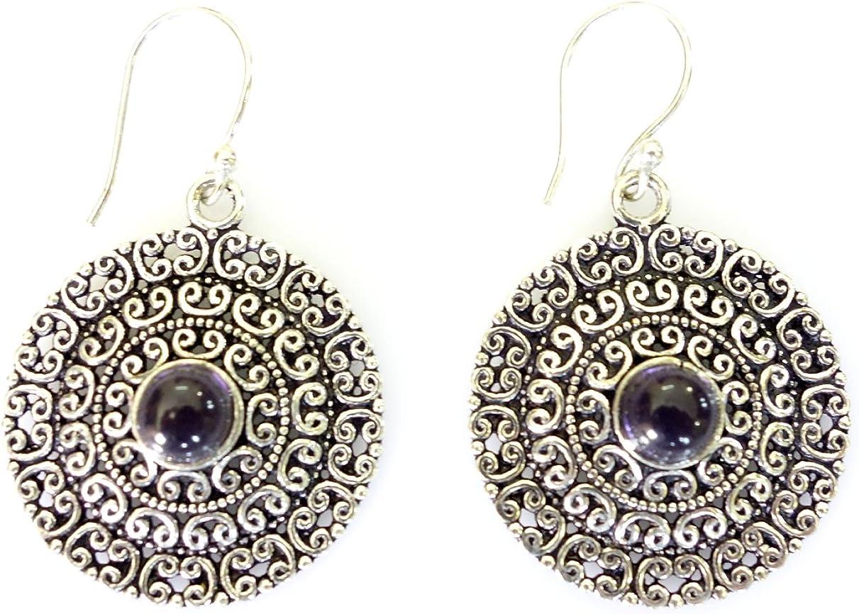 Único filigrana de plata oxidada gota moda cuelga amatista hecha a mano piedras preciosas piedras preciosas pendientes para mujeres y niñas de la India tienda de joyas