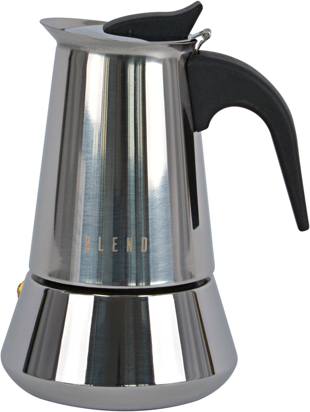 Ideal casa Cafetera 4 Tazas Acero Inoxidable con Fondo inducción ...