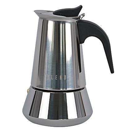 Ideal casa Cafetera 4 Tazas Acero Inoxidable con Fondo inducción. Blend