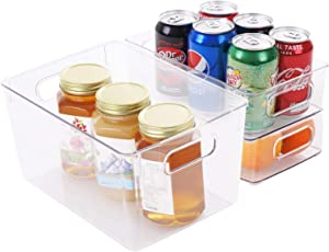"Plastic Food Storage Bins with Handles, Stackable Refrigerator Organizer Bins for Freezer, Cabinet, Fridge, Kitchen Pantry Organization and Storage, BPA Free, 10"" Long - 2 Pack,11"" Long - 1 Pack"