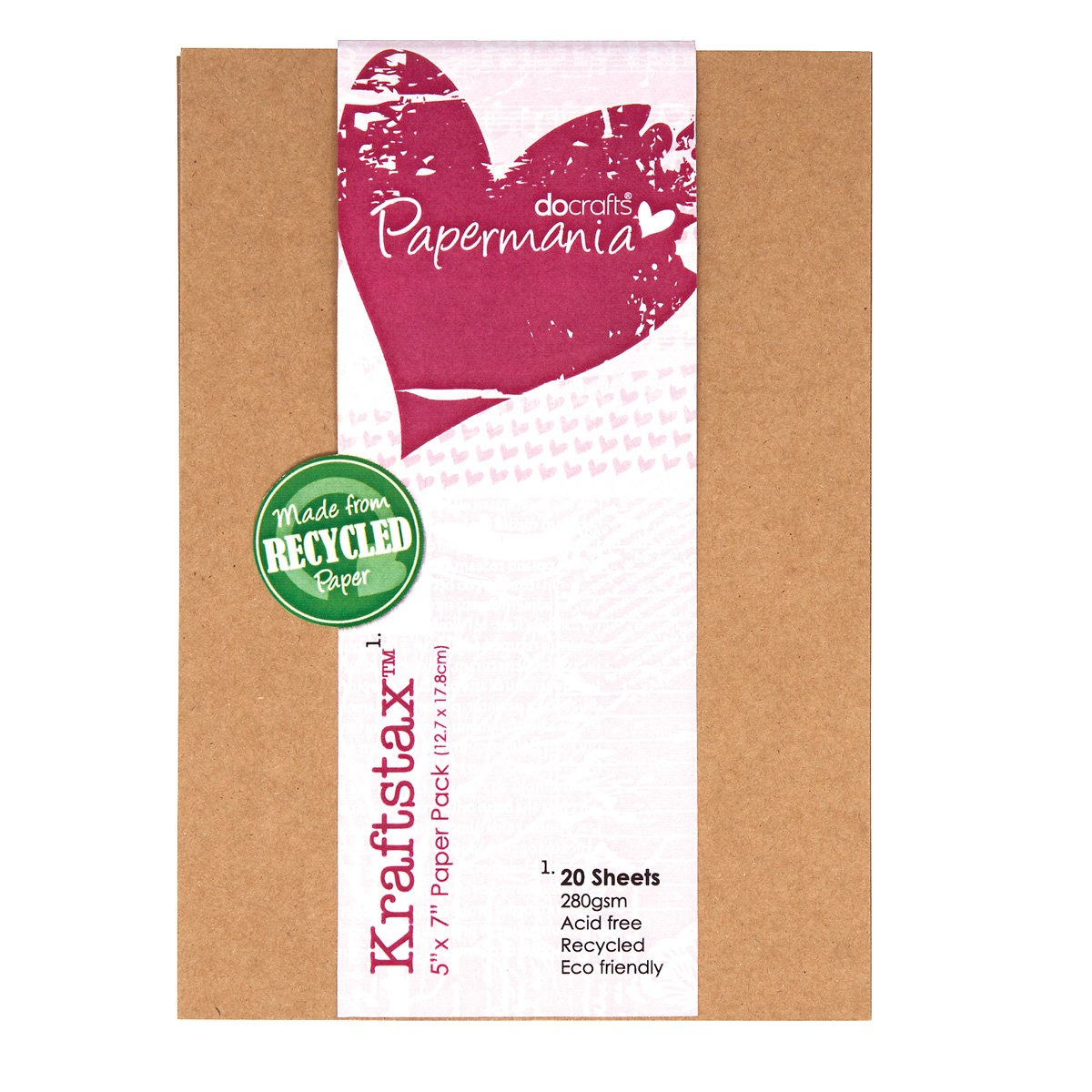 Papermania 7 x 5-inch Kraftstax Premium Kraft Paper Inserts Eco Cardstock, Pack of 20, Brown Docrafts PMA160601