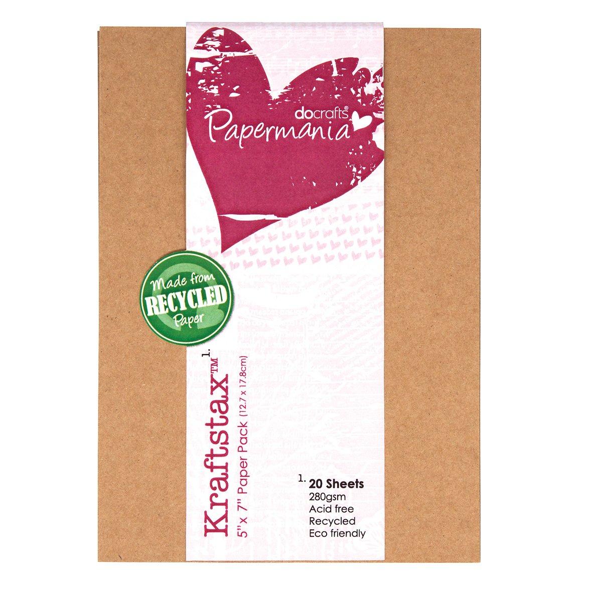 Papermania 7 x 5 pollici Kraftstax Premium Kraft inserti di carta Eco Cartoncino, confezione da 20, Brown Docrafts PMA160601
