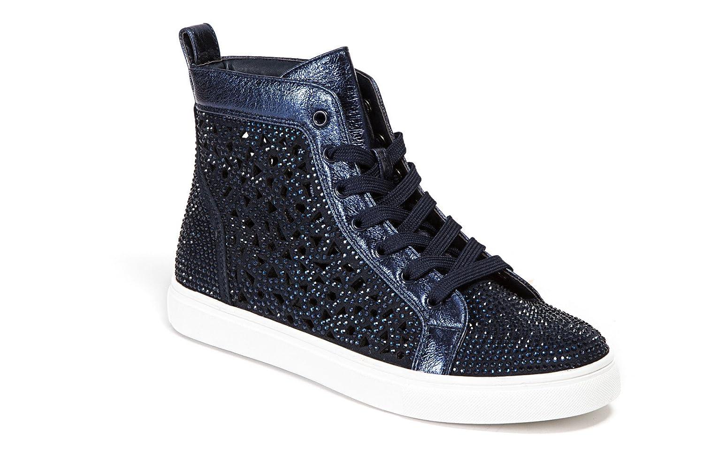 Lady Couture Flat Laser Cut High Top Bling Rhinestone Sneaker Women's Shoes New York B07CF484VG 35 EU|Navy