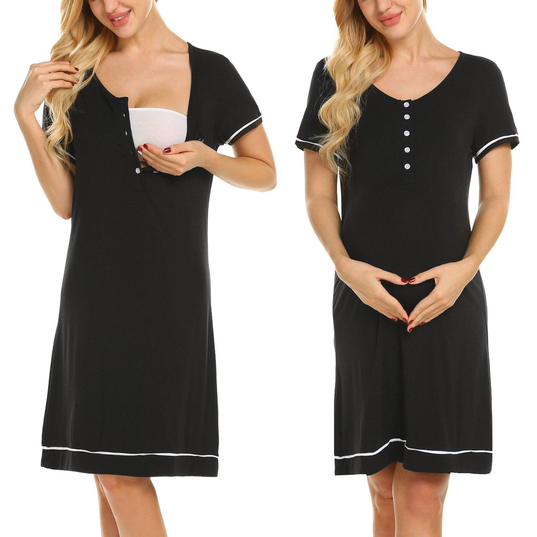Ekouaer Women Nursing Nightgown,Maternity Gown,Labor Delivery Dress Hospital Pregnancy Breastfeeding Dress (Black M)