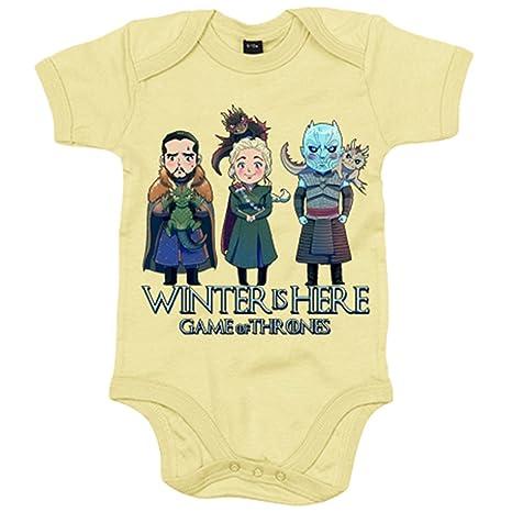 Body bebé Juego de Tronos Jon Snow Caminante Blanco Khaleesi y dragones ilustración - Amarillo, 6-12 meses