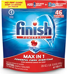Finish - Max in 1-46ct - Dishwasher Detergent - Powerball - Dishwashing Tablets - Dish Tabs - No Need to Unwrap