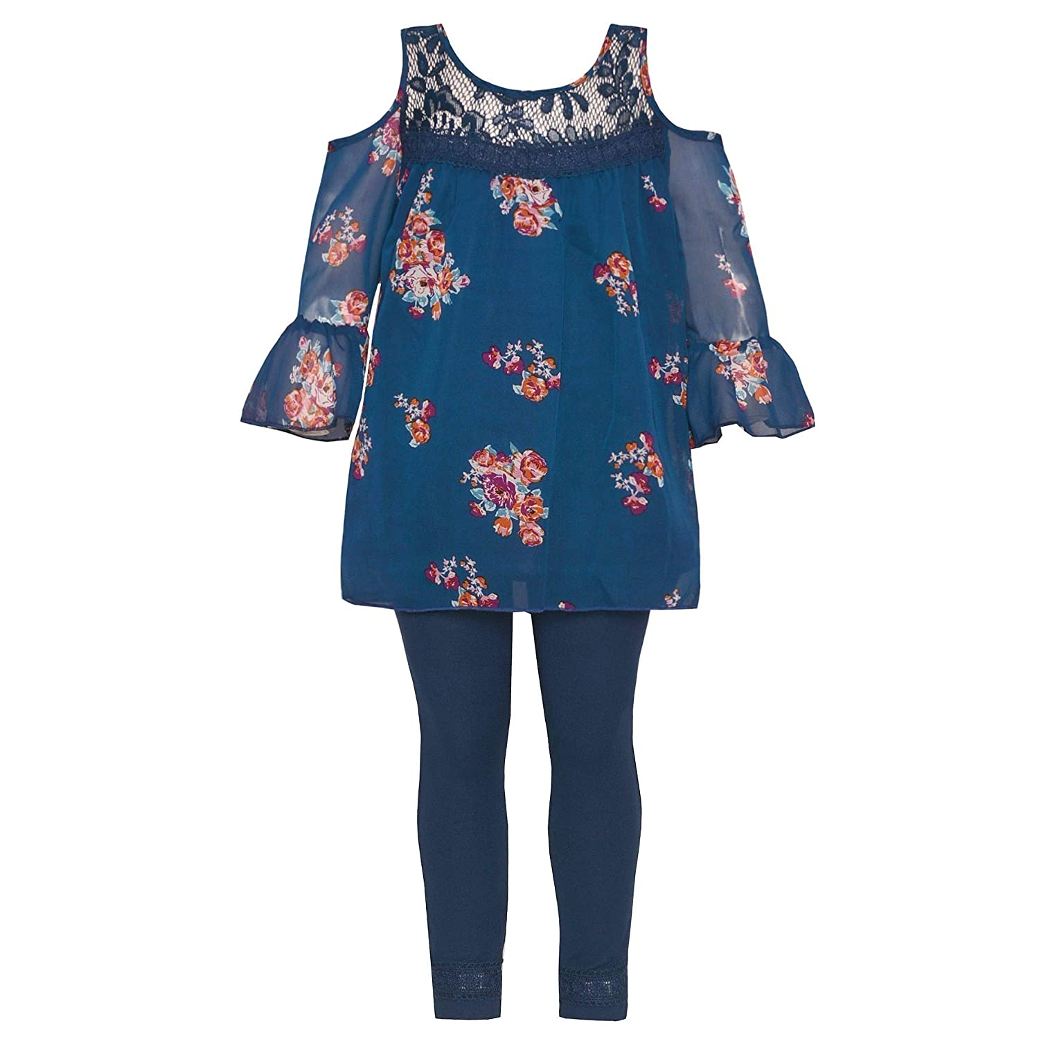 Little Girls Navy Floral Print Ruffle Cold Shoulder 2 Pc Legging Outfit 2T-6X