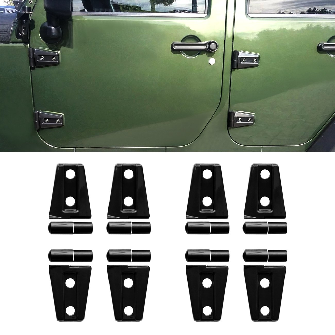 Diytunings 8 Pcs Black Door Hinge Cover Trim For 4 Jeep Parts Wrangler Jk Jku Unlimited