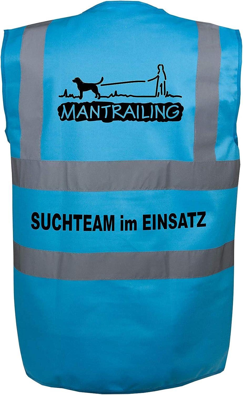 M, T/ürkis Motiv 2 Mantrailing Warnweste Hundesport Sicherheitsweste Suchteam im Einsatz