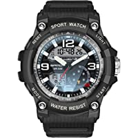Men's Military Watch Men Sports Digital Watch Waterproof Dual Display Large Face Outdoor Army Wrist Watches for Men