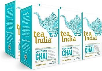 Tea India Coconut Chai Tea Bags, 40 count (Pack of 6)