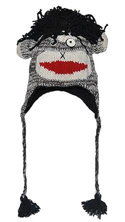 4e0aa8be3b1d Amazon.com: Black Punk Rock Sock Monkey Knitted Animal Hat Child - 40  Animals Child/Adult: Clothing