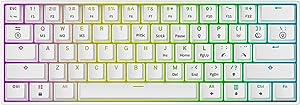 Mizar MZ60 Luna Hot Swappable Mechanical Gaming Keyboard - 61 Keys Multi Color RGB LED Backlit for PC/Mac Gamer (White, Gateron Optical Brown)