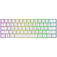 Mizar MZ60 Luna Hot Swappable Mechanical Gaming Keyboard - 61 Keys Multi Color RGB LED Backlit for PC/Mac Gamer (White…