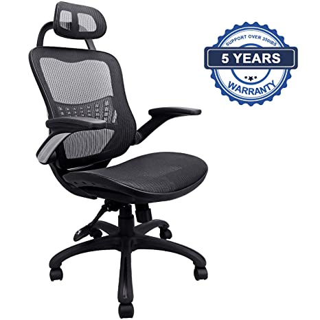 Superb Ergonomic Office Chair Weight Capacity Over 300Ibs Passed Bifma Breathable High Back Mesh Office Chairs Adjustable Headrest Backrest And Flip Up Dailytribune Chair Design For Home Dailytribuneorg