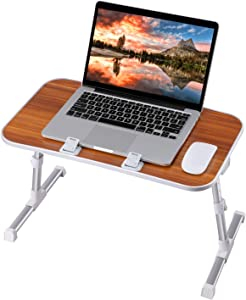 Laptop Desk, Utaxo Laptop Computer Stand, Adjustable Lap Desks Bed Tray for Eating, Foldable Laptop Desk, Notebook Stand Reading Holder in Sofa and Couch (Medium, Brown)
