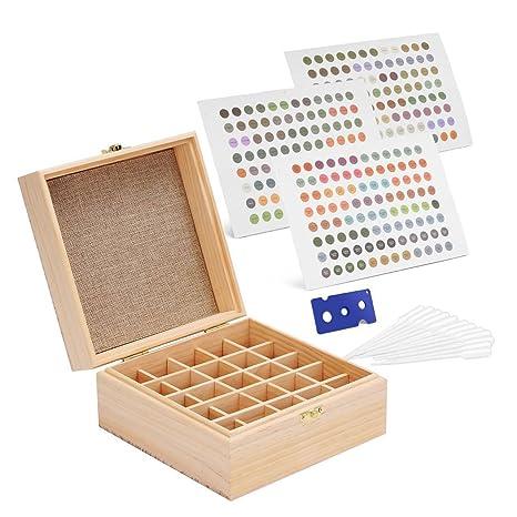 Caja de Madera de Pino Gbtree Para 25 Aceites Esenciales con Separadores Extraíbles, 384 Etiquetas, Abridor y 12 Cuentagotas | Aromateca Estuche de ...