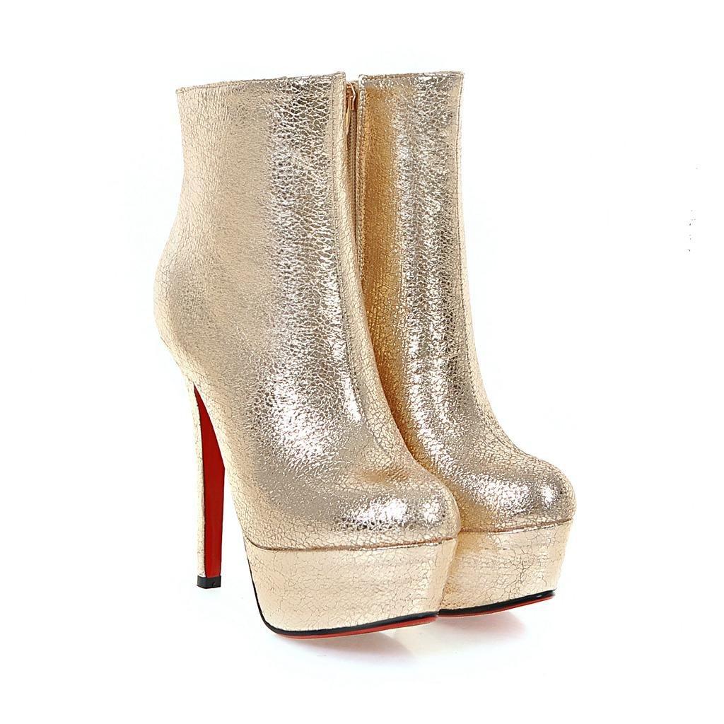 Damen Stiefeletten Stilett Stilett Stilett High Heel Schuhe Wasserdicht Runder Kopf Künstliche PU Herbst Winter Abend Nachtclub d818f8