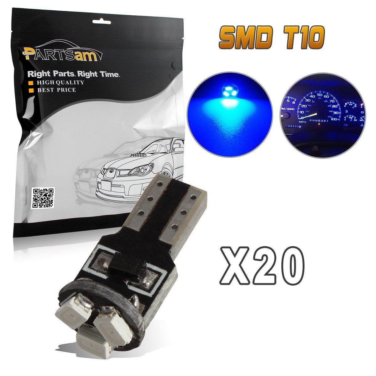 Partsam 20X Blue T5 74 2721 LED Bulbs Speedometer Dash Gauge Light 17 18 37 70 3SMD