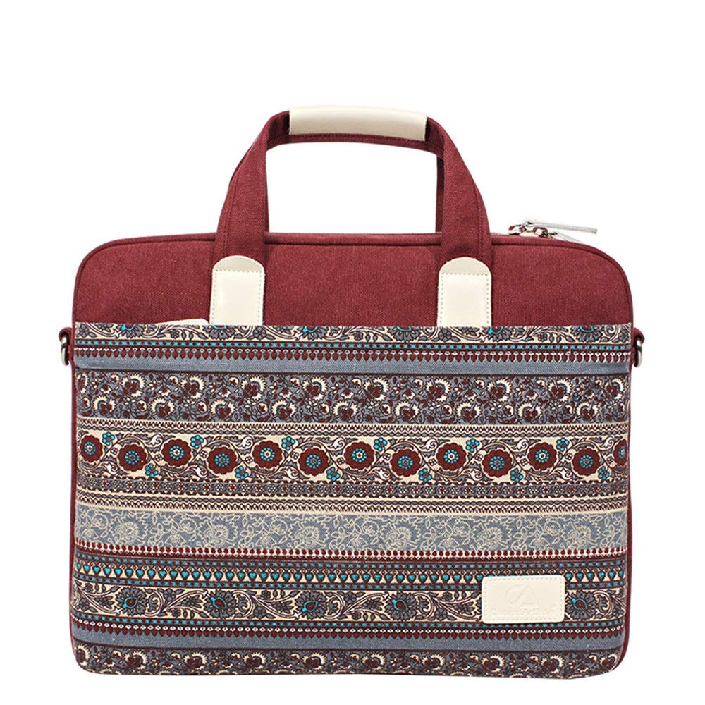 Amyannie Laptop Messenger Bag One-Shoulder Portable Diagonal Multi-Purpose Ethnic Wind Computer Bag for 13''/14'' /15'' Notebook Canvas Bag Briefcase Laptop Messenger Bag (Color : Red, Size : 14'')