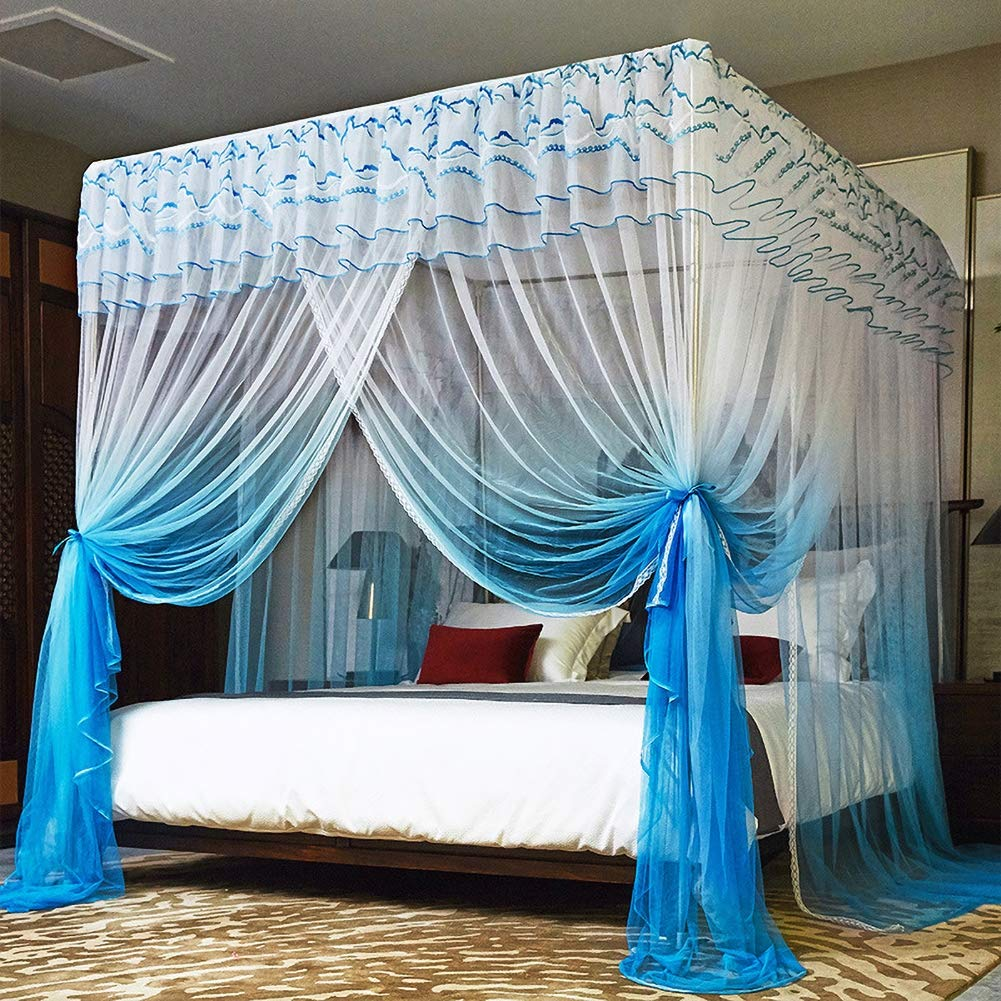 GLXQIJ Romantic 4 Corner Post Bed Canopy Mosquito Net Cot Canopy Netting Bedding,3 Entries,with Bottom,Quick Easy Installation,A,180200200cm