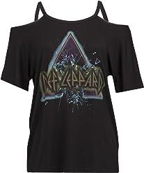 6e2d4df5ff1ed7 Recycled Karma Womens DEF Leppard Cold Shoulder Music Band Tee T-Shirt Black