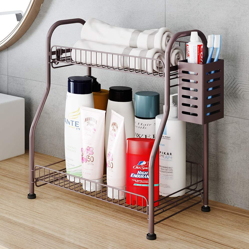 Amazon Com Bathroom Counter Organizer Shelf With Toiletries Basket 2 Tier Standing Kitchen Spice Rack For Spice Can Jars Bottle With 3 Hooks Bronze Steel Home Improvement