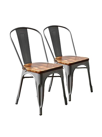 Aeon Garvin 2 Stackable Chairs, Galvanized Steel/Wood, Set Of 2