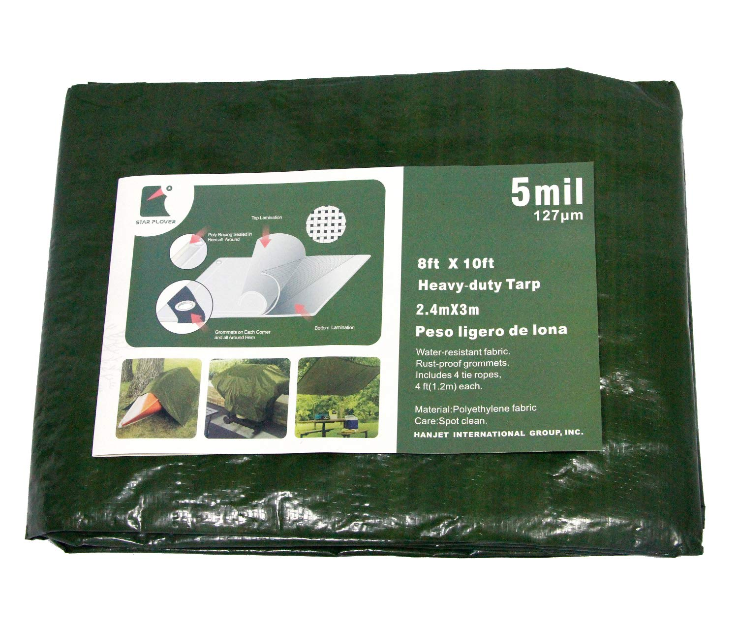 Waterproof Roof Cover Poly Tarps 8X10 Feet Army Green 5 mils Durable PE Tarpaulin for Boat Tent Outdoor Cover by Star Plover by Star Plover