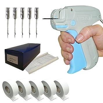 HUTNER Set: Etikettiermaschine A/&J 90 S | 1.000 Heftpistole Tag Pins 25 mm | 1.000 Kartonetiketten 30x40 mm auf Rolle Etikettierpistole