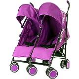 Zeta Citi TWIN Stroller Buggy Pushchair - Plum (Purple) Double Stroller