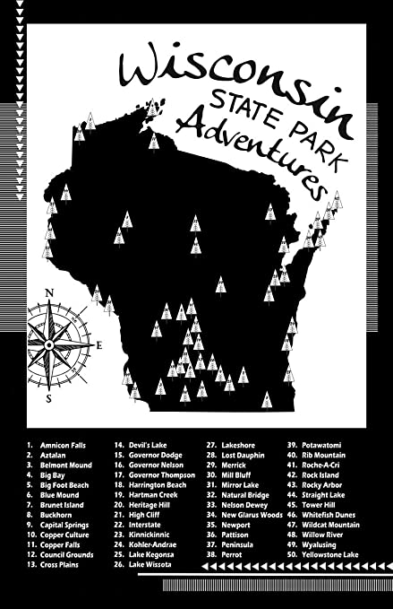 Amazon.com: Wisconsin State Parks Checklist Map (Poster Paper, 11x17 ...